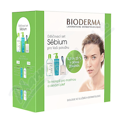 BIODERMA Sebium H2O 500ml+Gel mousant200ml+tampony